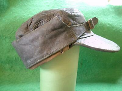 Vintage Black Leather Peaked Cap with Neck Protector