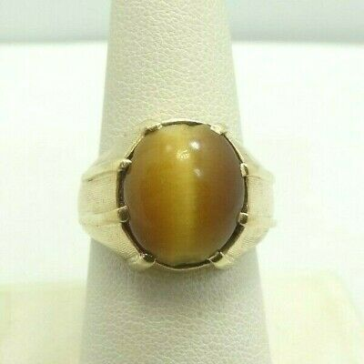 14K Yellow Gold Tigers Eye Cabochon Textured Ring Size 8.5 15.5mm 8.9g D9938