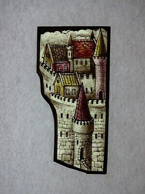Beautiful Stained glass.OLD CITY.Hand painted.Kiln fired.85 x170mm.Antiq.style.