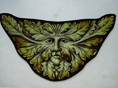 Beautiful Stained glass.GREEN MAN.Hand painted.Kiln fired.270 x140mm.Antiq.st.