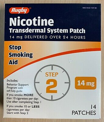STEP 2 Rugby Stop Smoking Aid  EXP: 09/2020 Nicotine Transdermal 14 Patches,
