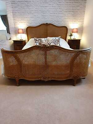 Antique French Double Bed. Bergere Woven Cane.