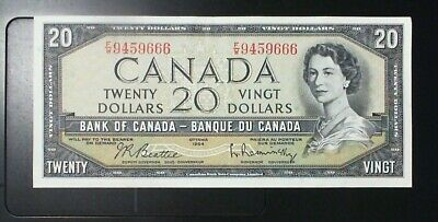 1954 Bank Of Canada $20.00 Banknote Beattie Rasminsky Modified Portrait