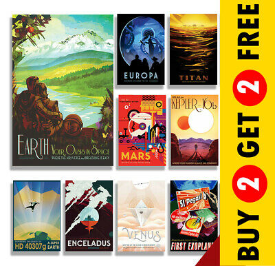 NASA SPACE TRAVEL POSTERS A4 A3 Size Retro Prints Vintage Home / Wall Art Decor
