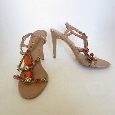 8d73bb0522 BCBG Generation Strappy Leather Nude Orange Gold Jewelled Sandals Heels Sz  8.5