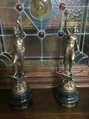 gorgeous pair of antique vintage french spelter figures. La Nuit, and Le Jour.