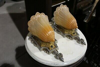 Pair Of Antique Art Deco Slip Shade Wall Sconce Light Fixture , I Have 2 Set