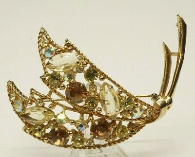 Vintage Signed Emmons Stunning Art Deco Crystal Brooch Gold Tone Antique Pin