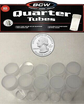10 Round Quarter Coin Storage Tubes Clear Plastic Lot w Screw Caps BCW Free Post