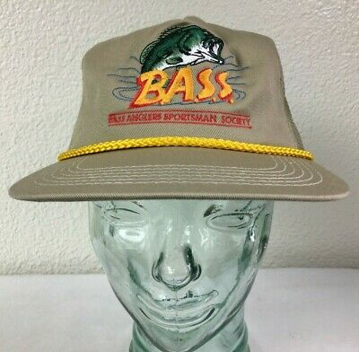 VTG Bass Anglers Sportsman Society Tan Fisherman's Hat/Cap w/ Gold Rope Trim OS