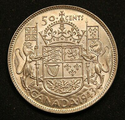 1943 Canada Silver 50 Cents. High Grade AU+/Unc. King George VI