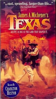 James A. Michener's TEXAS 2 VHS Tapes Box Set SEALED Narrated by Charlton Heston