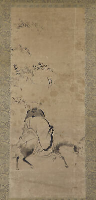 """JAPANESE HANGING SCROLL ART Painting """"Figure"""" Asian antique  #E7755"""