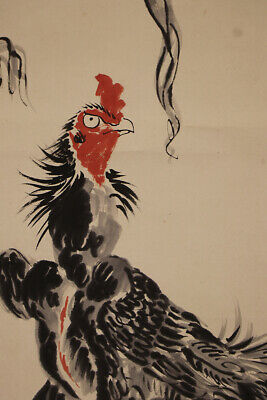 """JAPANESE HANGING SCROLL ART Painting """"Fighting cock"""" Asian antique  #E7749"""