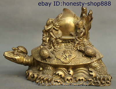 Collect Chinese Brass 8 God Immortal God Longevity Dragon Turtle Tortoise Statue