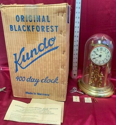 Vintage KUNDO Original Blackforest 400 Days Clock *Brass Movement *Glass Dome  2