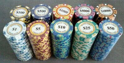 200 poker chips Monte Carlo 14 gram choice of 10 denominations