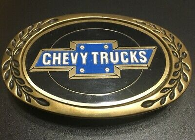 Vintage 80's One Of A Kind CHEVY TRUCKS Brass Car Belt Buckle NOT FORD DODGE AMC