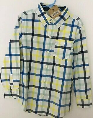 Boy's Crazy 8 Long Sleeve Button Up Shirt Blue/Yellow/Green Striped Small NWT