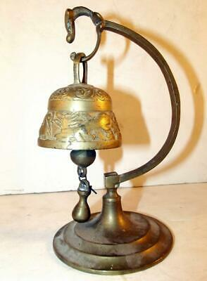 Vintage Solid Brass Bell W/Animal Design & Stand For Table/Counter Made In China