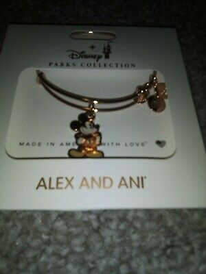 Disney Parks Alex and Ani Mickey Silhouette Plated Charm Bracelet Rose Gold New