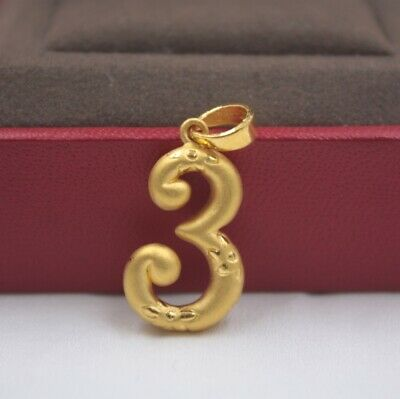 Real 999 Real 24K 3D Yellow Gold Pendant Lady Women Luck Number 3 Three Gift