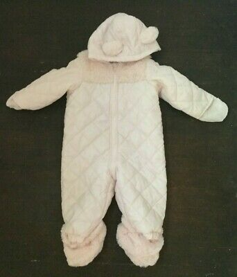 1d42f3f4c First Impressions Macys Baby Bunting Snowsuit Pink 6-9M Plush Ears Trim  Quilted