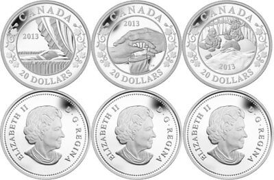 2013 Canada .9999 Silver Set Of 3 Birth Of The Royal Baby $20.00 Proof Coins New
