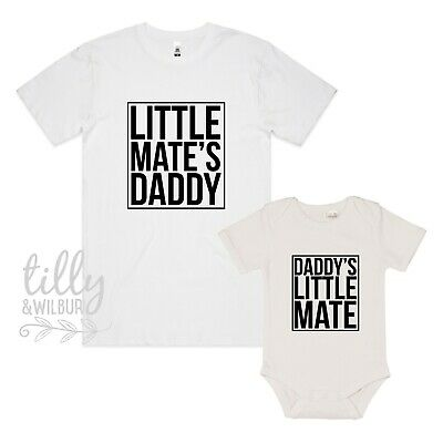 Daddy's Little Mate, Little Mate's Daddy Father's Day T-Shirt Baby Bodysuit Set