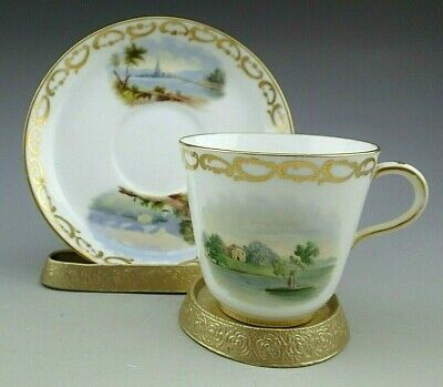 Antique Porcelain Tea Cup with Superb Landscapes, Minton ca 1861