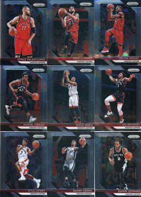 2018 2019 TORONTO RAPTORS 9 Card 2018-19 PANINI PRIZM Team Set