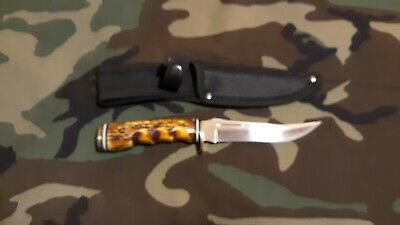 Fixed Blade Hunting Knife Outdoor Survival Bowie Camping + Sheath