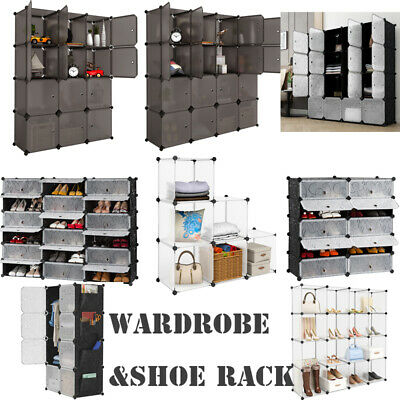 6/8/10/12/16/18Cube Plastic Storage Wardrobe&Shoe Rack Clothes Organizer Closet