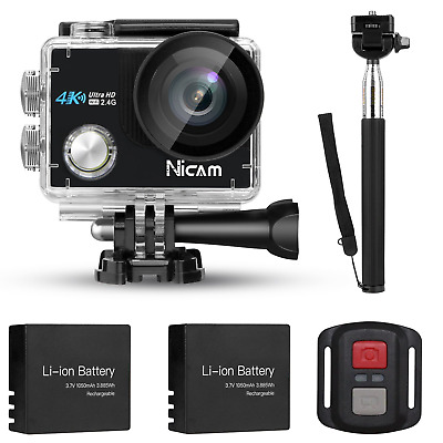 Nicam 4K WIFI Sports Action Camera 12MP with Selfie Stick and Deluxe Accessories
