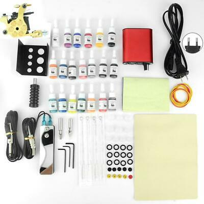 Professional Complete Tattoo Kit Tattoo Machine Power Supply Needle 20 Color Ink