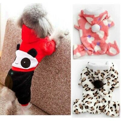 Fleece Pet Dog Winter Clothes Coat Puppy Sweater Jumpsuit Outfits Hoodie S-XL