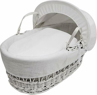 Kinder Valley White Wicker Moses Basket With Bedding 44cm H x 24cm W x 84cm L