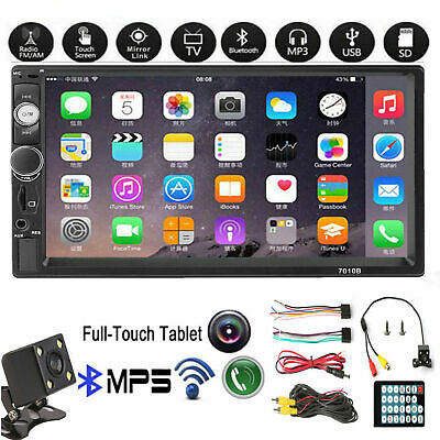 7''Car Radio Stereo Touch Screen Double 2Din Bluetooth MP5 AUX FM In-Dash+Camera
