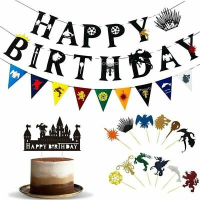 Game of Thrones Cake Topper Happy Birthday Banner Decorating Party Bunting Set