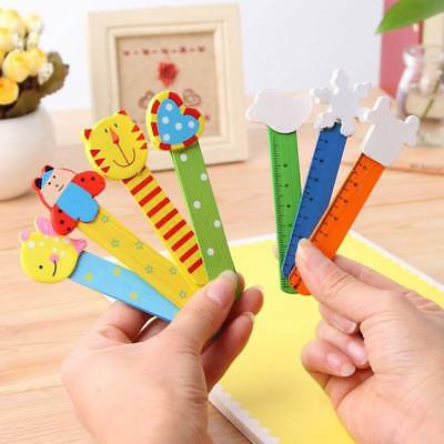 6pcs Wooden Animal Bookmarks with Ruler Scale For Books Student Gift Stationery