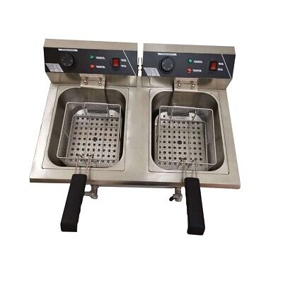 Commercial Electric Chip Fish Fryer 10L*2 Double Twin Basket With Drain Taps KL