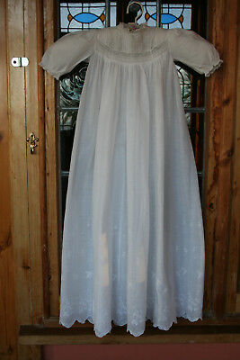 Exquisite Antique Fine Lawn Babies Christening Gown Pintucks & Embroidery.