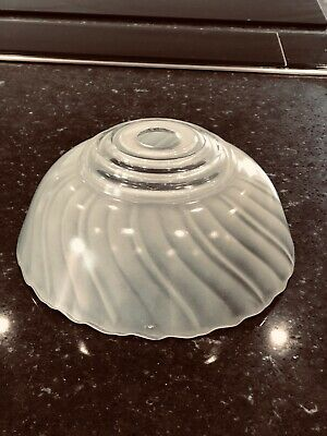 1950s Pendant Lampshade French Pale Vaseline Green Opaque Glass Light Shade Old