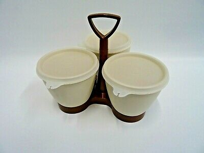 Vintage Tupperware 3 Removable Cups and Carry Holder