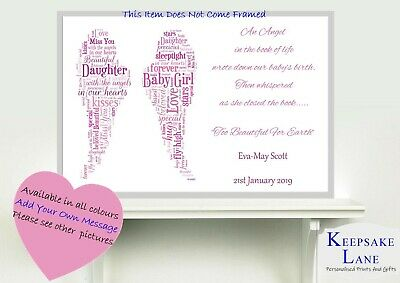 Memorial Keepsake Bereavement Miscarriage Stillborn Baby Loss Memory Print Angel