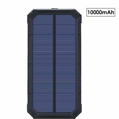 NEW 100000mAH Waterproof Solar Power Bank Dual Output Phone Battery Charger BT