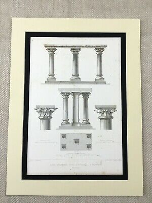 1857 Antique Print Bronze Architectural Pillars Brunswick Cathedral Germany
