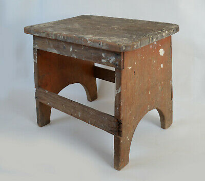 Primitive Wood Step Stool, Milking or Foot Stool. Shabby Farmhouse Rustic Chic.