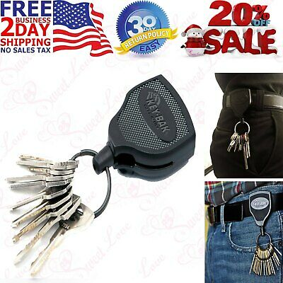 Heavy Duty Retractable Key Chain Badge Holder Locking Steel Belt Clip Black 48""