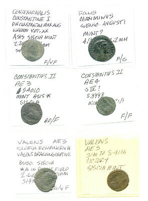 Six different Roman coins cleaned and identified vg to fine lot2